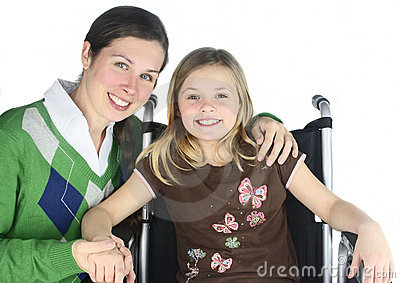 Smiling Mother with Special Needs Child