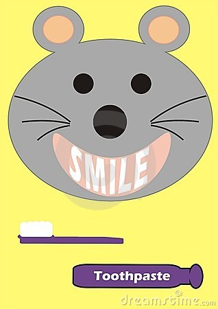 Smiling mouse with a toothbrush and toothpaste