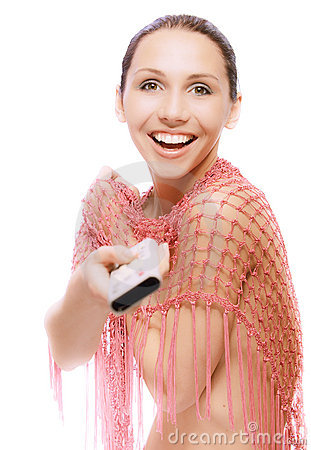 Smiling nude woman with TV console