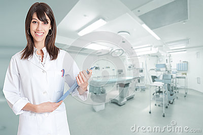 Smiling nurse in operating room