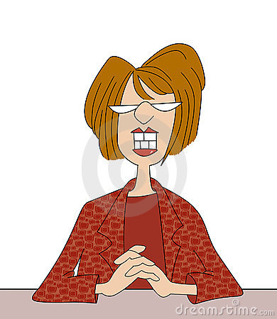 Smiling Office Lady Cartoon