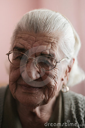 Smiling old mature woman