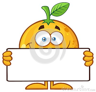 Free Smiling Orange Fruit Cartoon Mascot Character Holding A Blank Sign Royalty Free Stock Photo - 120325185