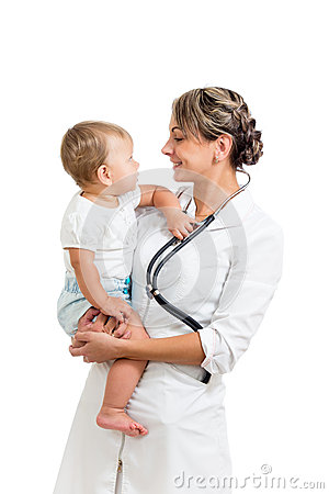 Smiling paediatrician doctor holding baby on hands
