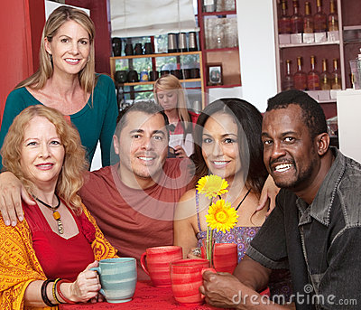 Smiling People in a Coffeehouse