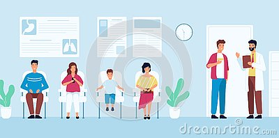 Smiling people sitting in chairs and waiting for doctor`s appointment time at hospital. Men and women at physician`s Vector Illustration