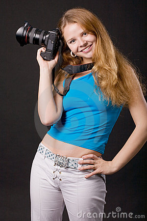 Smiling photographer