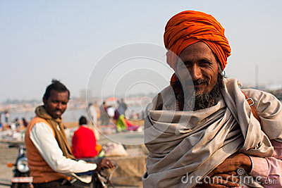 Smiling pilgrim at Kumbh Mela Editorial Stock Photo