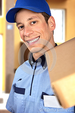 Smiling pizza delivery man holding pizza box