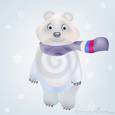 Smiling Polar Bear character in vector Olympic Gam