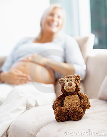 Smiling pregnant lady with teddy bear