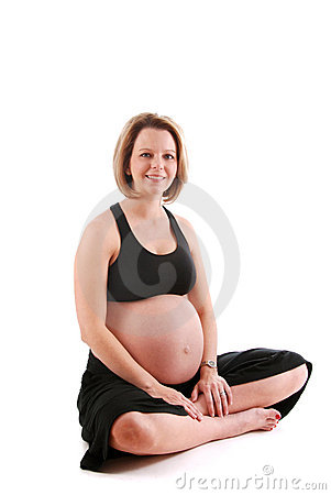 Smiling pregnant woman.