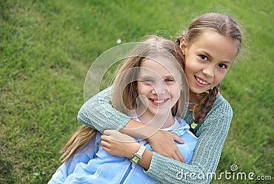 Smiling preteen girls