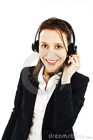 Smiling pretty business woman with headset