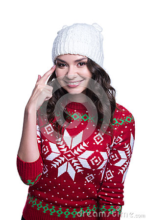 Free Smiling Pretty Sexy Young Woman Wearing Colorful Knitted Sweater With Christmas Ornament And Hat. Isolated On White Background. Stock Photos - 82746513