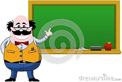 Smiling Professor Indicating Blank Blackboard