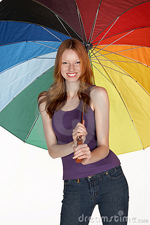 Smiling Red Head Woman with Rainbow Umbrella