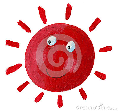 Smiling red sun