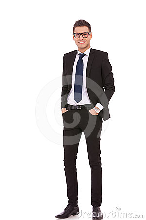 Smiling relaxed business man
