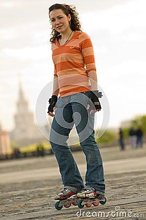 Free Smiling Rollerskating Girl Royalty Free Stock Image - 5121336