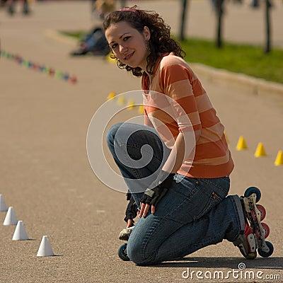 Free Smiling Rollerskating Girl Stock Photos - 5121443