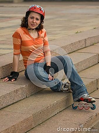 Free Smiling Rollerskating Girl Royalty Free Stock Photos - 5121548