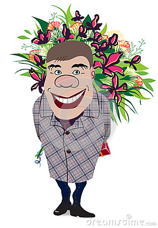 Smiling romantic man giving flowers