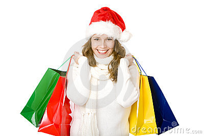 Smiling Santa Claus woman doing Christmas shopping
