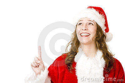 Smiling Santa Claus Woman pointing with finger up