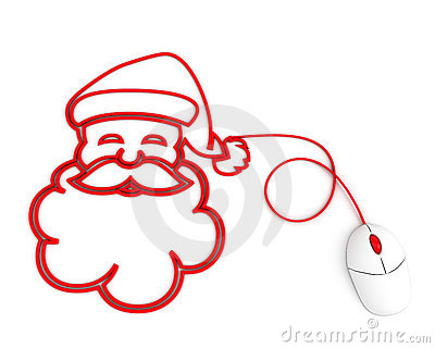 Smiling Santa depicted with computer mouse cable