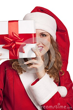 Smiling Santa emerge from behind a gift box
