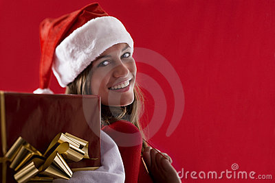 Smiling Santa Girl with gifts
