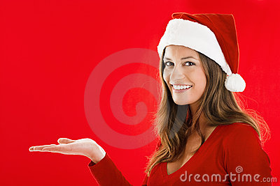 Smiling Santa Girl showing