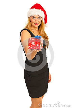 Smiling Santa woman giving gift