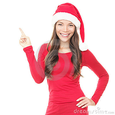 Free Smiling Santa Woman Pointing Up Royalty Free Stock Images - 16771659