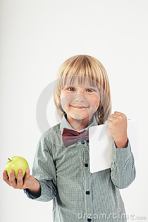 Free Smiling School Boy In Shirt With Red Bow Tie, Holding Tablet Computer And Green Apple In White Background Stock Photo - 110754600