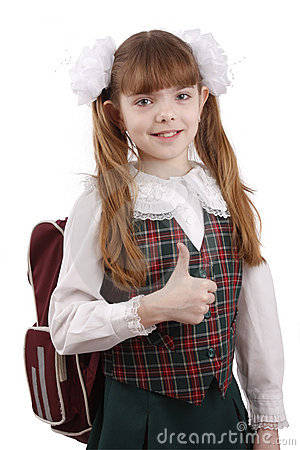 Free Smiling School Girl. Education. OK Sign. Royalty Free Stock Photography - 9011247