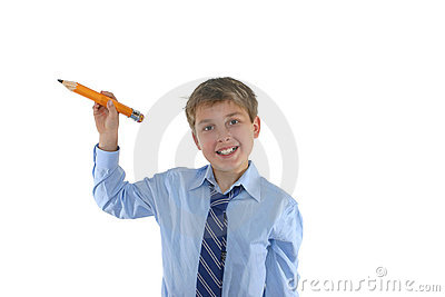 Smiling schoolboy holding a pencil