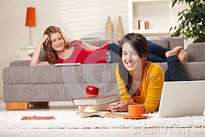 Smiling schoolgirls learning at home