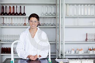 Smiling scientist posing