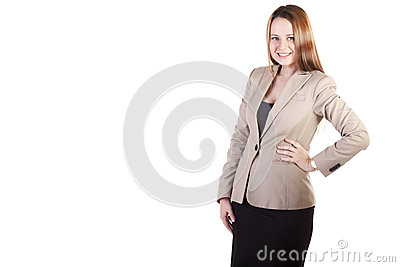 Smiling Secretary isolated on white background with copyspace av