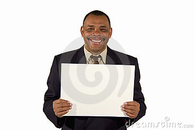 Smiling senior businessman presenting a board