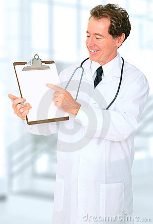 Smiling Senior Doctor Showing Blank Board