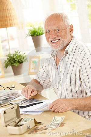 Smiling senior at financial activity