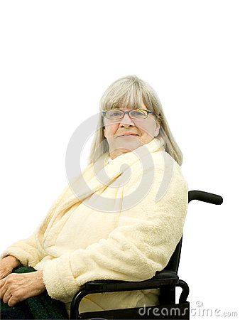 Smiling Senior Woman in Wheel Chair