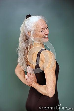 Smiling Senior Yoga Woman