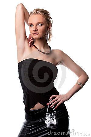 Smiling sensual pretty blonde girl with arm lifted
