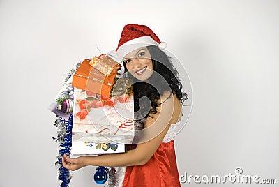 Smiling sensual Santa helper woman
