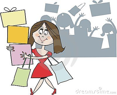 Smiling shopper cartoon