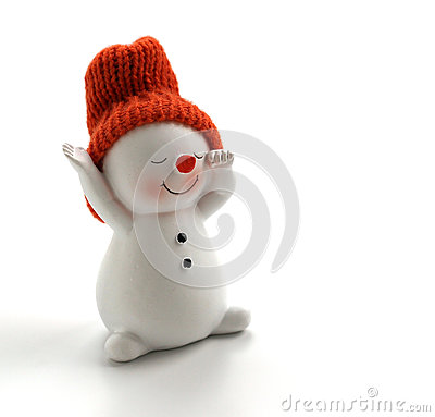 Free Smiling Snowman Figurine On White Background Royalty Free Stock Image - 27763506